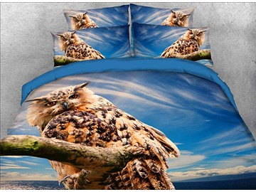 Onlwe 3D Owl Perching on the Branch Printed 4-Piece Bedding Sets/Duvet Covers