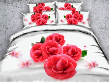3D Red Blooms Printed Cotton 4-Piece White Bedding Sets/Duvet Covers