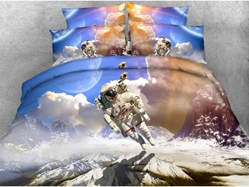 3D Astronaut and White Clouds Printed 4-Piece Bedding Sets/Duvet Covers