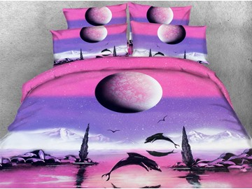 3D Dolphin and Rising Moon Printed 4-Piece Pink Bedding Sets/Duvet Covers