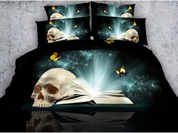 3D Skull and Butterfly Printed 4-Piece Bedding Sets/Duvet Covers