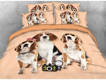 Onlwe 3D Beagle Puppies Printed 4-Piece Bedding Sets/Duvet Covers