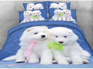 Onlwe 3D White Samoyed Dog Printed 4-Piece Bedding Sets/Duvet Covers