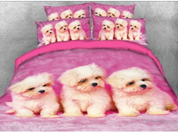 3D White Puppies Printed 4-Piece Bedding Sets/Duvet Covers