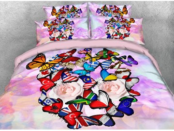 Onlwe 3D Colorful Flag Butterflies Printed 4-Piece Bedding Sets/Duvet Covers