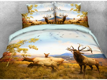Onlwe 3D Elk Family On the Autumn Grassland Printed 4-Piece Bedding Sets
