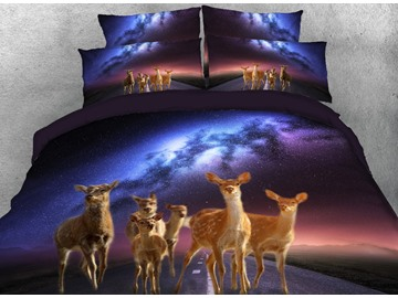 Onlwe 3D Sika Deer and Galaxy Printed 4-Piece Bedding Sets/Duvet Covers