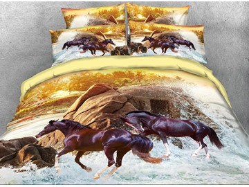 Onlwe 3D Running Brown Horse Printed 4-Piece Bedding Sets/Duvet Covers