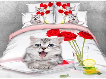 Gray Kitten and Red Roses Printed 4-Piece 3D Bedding Sets/Duvet Covers