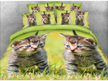 Onlwe 3D Kittens on the Grass Printed 4-Piece Bedding Sets/Duvet Covers