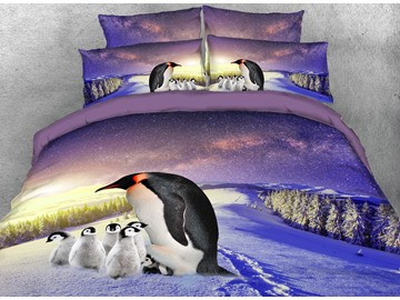 Onlwe 3D Mother and Baby Penguins Printed 4-Piece Bedding Sets/Duvet Covers