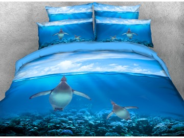 Onlwe 3D Swimming Penguins Printed 4-Piece Bedding Sets/Duvet Covers