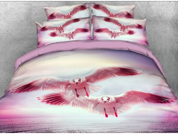 Onlwe 3D Flying Seagull printed 4-Piece Bedding Sets/Duvet Covers