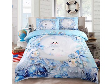 Onlwe 3D Snowman and Christmas Ornaments Printed 5-Piece Comforter Sets