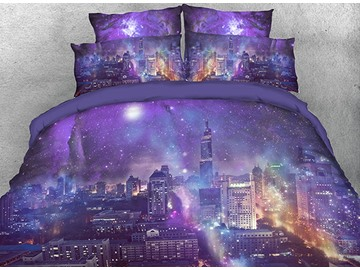 Onlwe 3D Night City under Purple Galaxy Cotton 4-Piece Bedding Sets/Duvet Covers