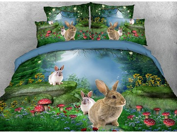 Wild Rabbits with Mushrooms Printed Cotton 3D 4-Piece Bedding Sets/Duvet Covers
