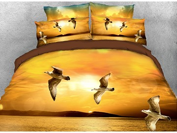 Onlwe 3D Seagulls Flying over Ocean in the Twilight 4-Piece Bedding Sets/Duvet Covers