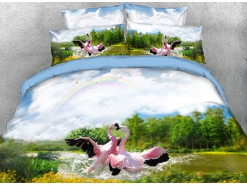Onlwe 3D Flamingos Playing in Water Natural Scenery Cotton 4-Piece Bedding Sets/Duvet Covers