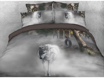 Vivilinen 3D White Wolf Printed 4-Piece Bedding Sets/Duvet Covers