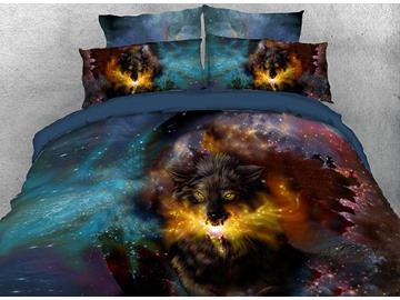 Onlwe 3D Wolf and Galaxy Printed 4-Piece Bedding Sets/Duvet Covers