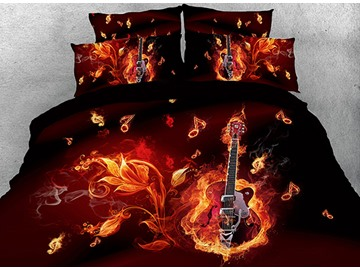Floral Fiery Guitar and Note Printed Cotton 4-Piece 3D Bedding Sets/Duvet Covers