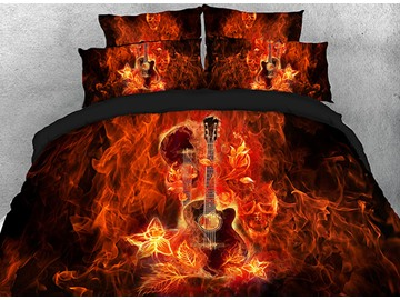 Onlwe 3D Fiery Guitar and Skull Printed Cotton 4-Piece Bedding Sets/Duvet Covers