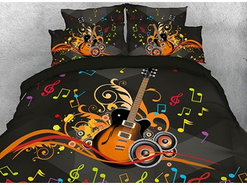 Onlwe 3D Guitar Speakers and Colorful Beating Note Cotton 4-Piece Bedding Sets/Duvet Covers