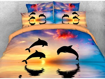 Onlwe 3D Jumping Dolphins Printed 4-Piece Bedding Sets/Duvet Covers