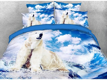 Onlwe 3D Polar Bear under White Clouds Printed 4-Piece Bedding Sets/Duvet Covers