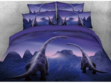 Onlwe 3D Family Trachiosaurus under Meteor Shower 4-Piece Bedding Sets/Duvet Covers