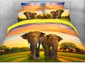 Couple Elephants Walking on Grassland Natural 4-Piece 3D Bedding Sets/Duvet Covers