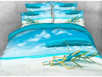 Onlwe 3D Sunshine Sands Sea Beach Style 4-Piece Bedding Sets/Duvet Covers