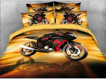 Onlwe 3D Cool Red Sports Motorcycle Printed 4-Piece Bedding Sets/Duvet Covers