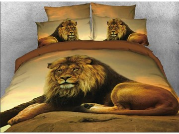Onlwe 3D Lion Relaxing on Rock African Safari 4-Piece Bedding Sets/Duvet Covers
