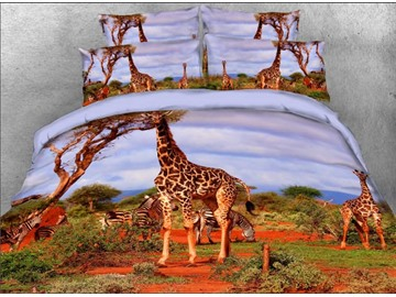 Onlwe 3D Giraffe and Zebra Safari Style 4-Piece Bedding Sets/Duvet Covers