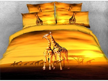 Giraffe Kiss African Scenery 3D 4-Piece Bedding Sets/Duvet Covers