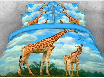 Onlwe 3D Giraffe Mother and Calf Printed 4-Piece Bedding Sets/Duvet Covers