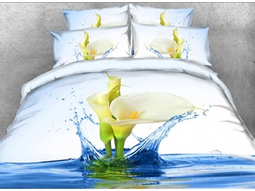Onlwe 3D Calla Lily with Splashing Water Printed 4-Piece Bedding Sets/Duvet Covers