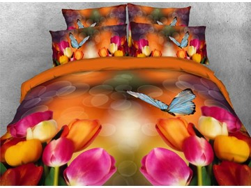 Onlwe 3D Colorful Tulips with Fluttering Butterfly 4-Piece Bedding Sets/Duvet Covers