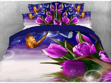 Onlwe 3D Purple Tulips with Fluttering Butterflies Bubbles 4-Piece Bedding Sets/Duvet Covers
