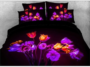 Onlwe 3D Blown Tulips Printed 4-Piece Bedding Sets/Duvet Covers