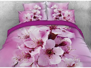 Onlwe 3D Pink Cherry Blossoms Printed 4-Piece Bedding Sets/Duvet Covers