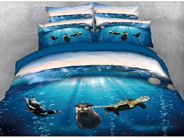 Onlwe 3D Turtle Sea Lion and Penguin in Ocean 4-Piece Bedding Sets/Duvet Covers