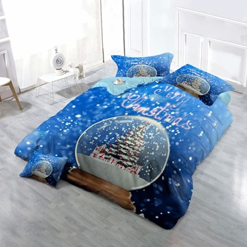3D Christmas Tree Crystal Ball Printed Cotton 4-Piece Bedding Sets/Duvet Cover