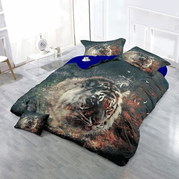 3D Tiger Face and Spark Printed Cotton 4-Piece Bedding Sets/Duvet Cover