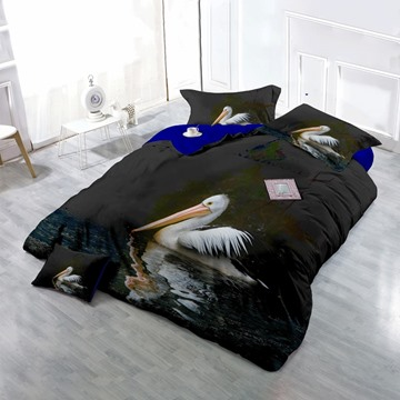 3D White Pelican Printed Cotton 4-Piece Black Bedding Sets/Duvet Cover