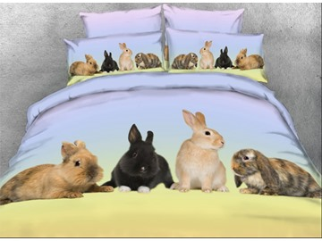 Onlwe 3D Rabbit Family Printed 4-Piece Animal Bedding Sets/Duvet Covers