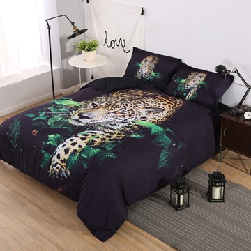 Onlwe 3D African Leopard Walking Through Jungle 4-Piece Bedding Sets/Duvet Covers