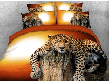 Onlwe 3D Leopard Relaxing on Rock at Sunset 4-Piece Bedding Sets/Duvet Covers