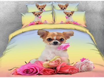 Onlwe 3D Chihuahua with Flowers Printed 4-Piece Bedding Sets/Duvet Covers